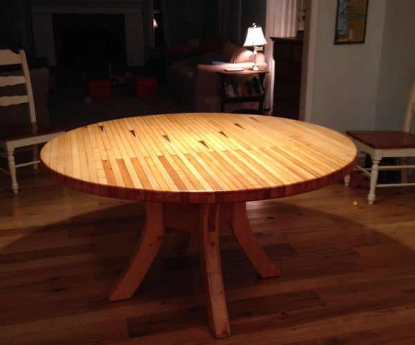Round Dining Table Made From Bowling Alley Wood