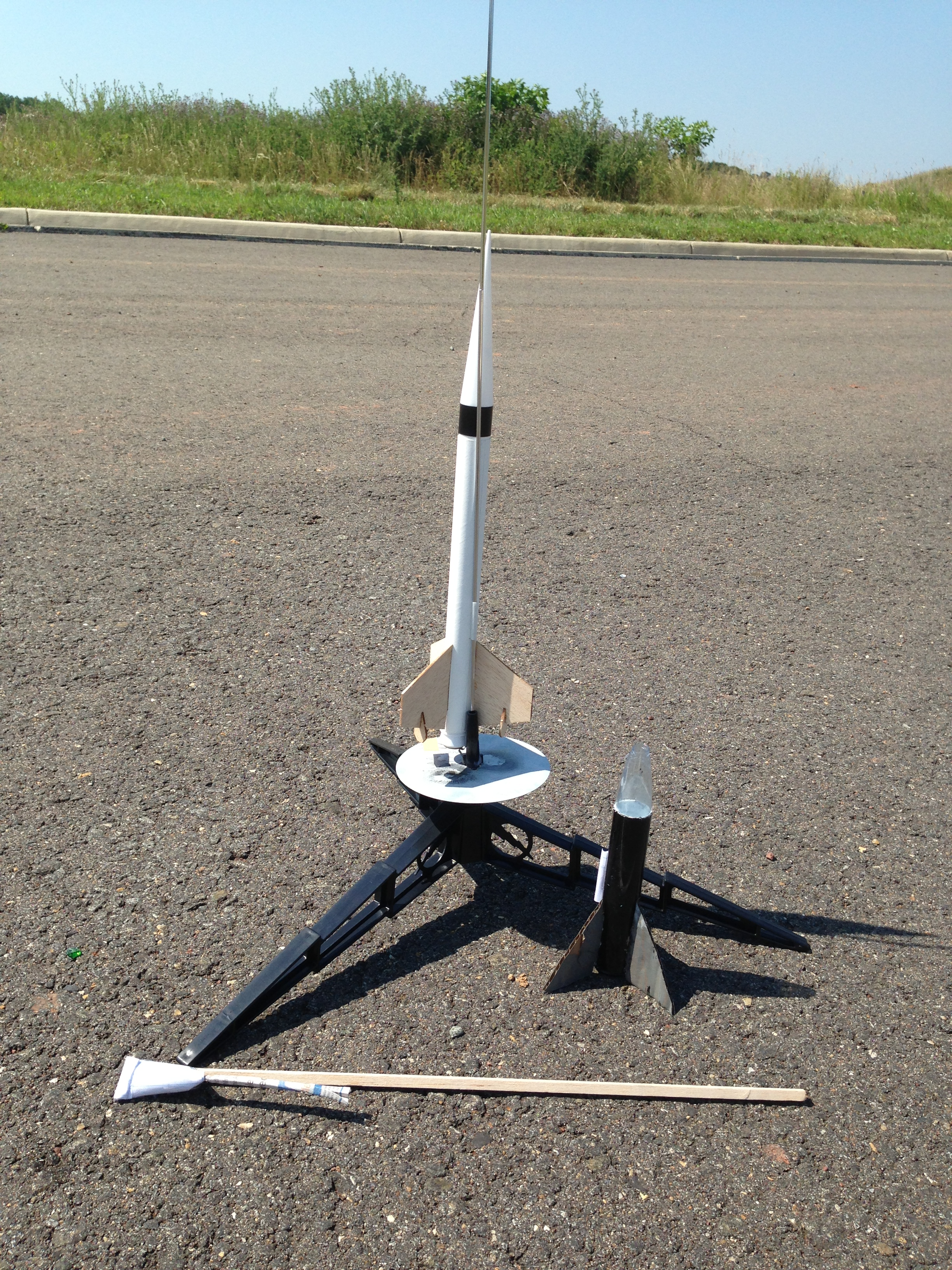Homemade rocket with rocket fuel and engine