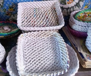 Baskets and Flower Vars Made From Newspaper Tube