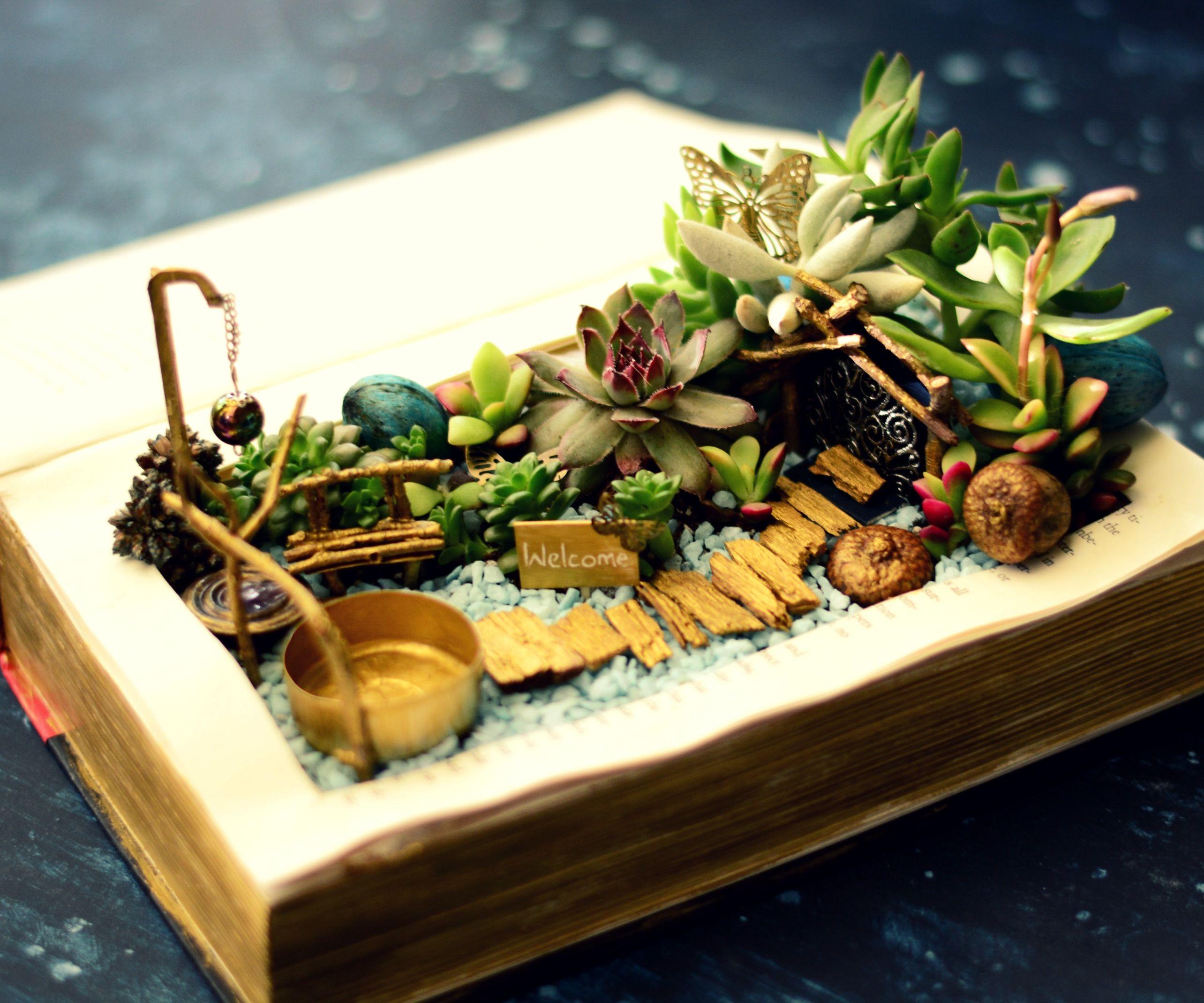 DIY Book Planter Succulent Fairy Garden