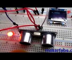 Arduino UNO With OLED Ultrasonic Range Finder and Visuino