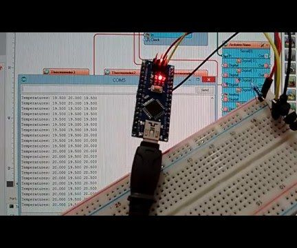 Arduino Nano: Read Multiple DS1820/DS18S20 Maxim One Wire Thermometers With Visuino