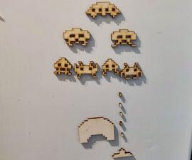 Laser-Cut Space Invader Magnets