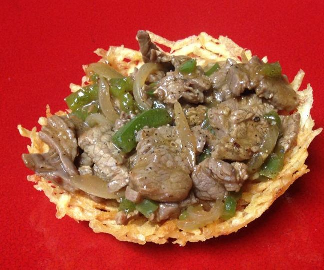 Beef and Peppers in an Edible Bird Nest