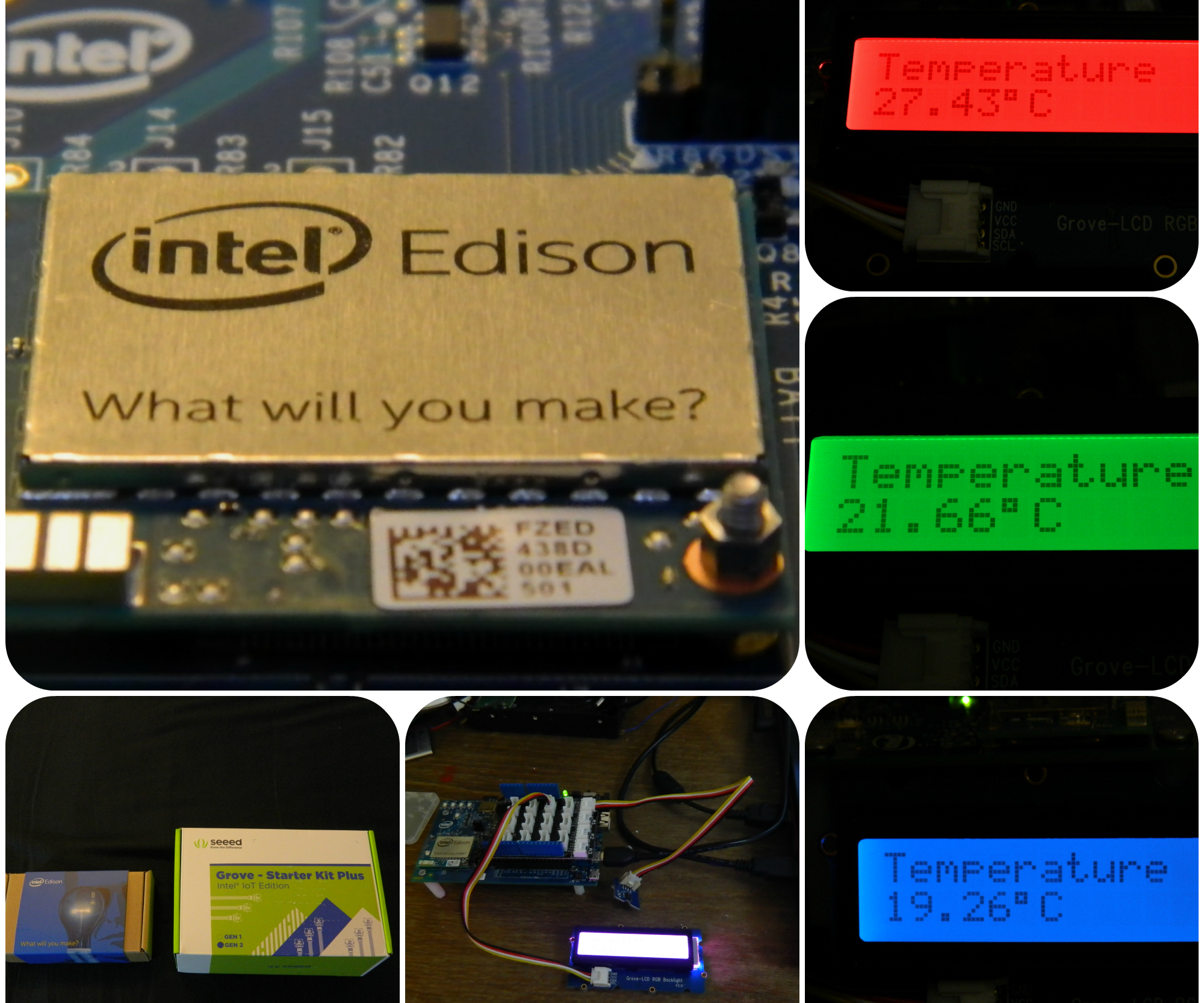 Intel Edison Temperature logger with RBG-LCD