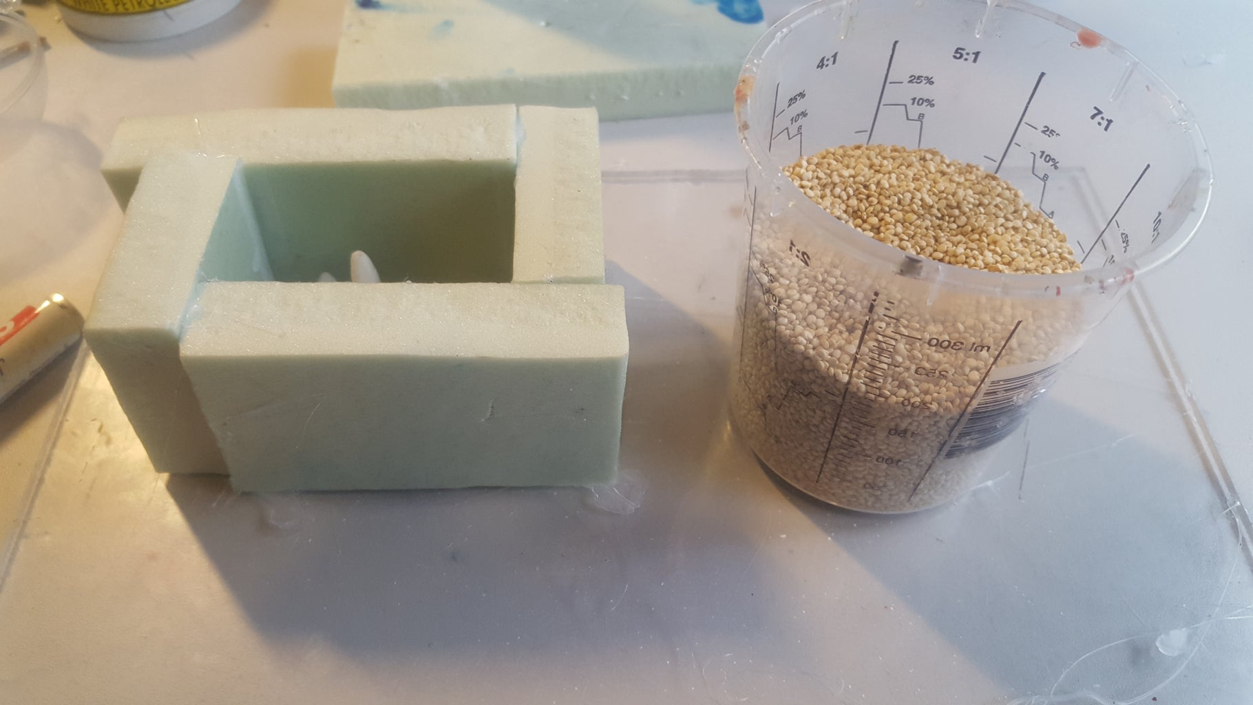 Pouring the Silicone in the Mold