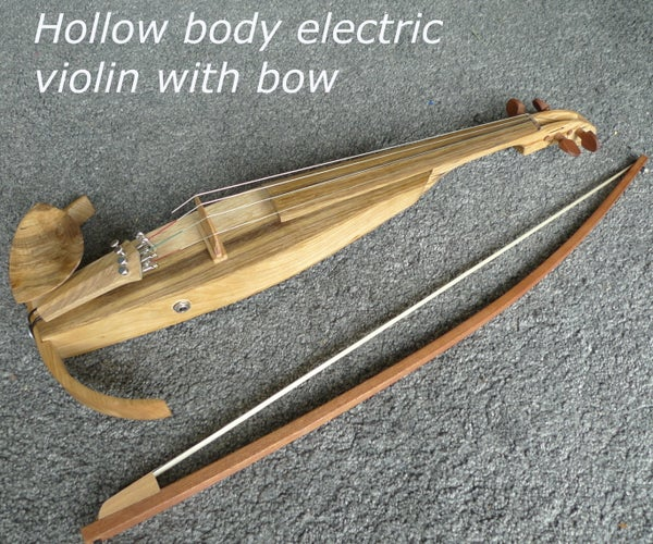 Hollow Body Electric Violin With Bow