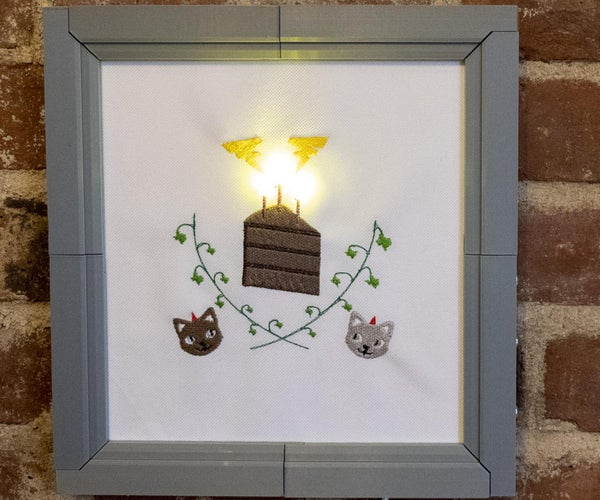 Birthday Machine Embroidery With LEDs