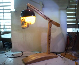 Desk Lamp Made From Reclaimed Folding Wood Chair With Skull