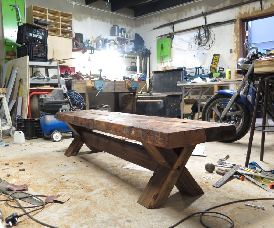 Oregon Pine Bench, from roof-beams.