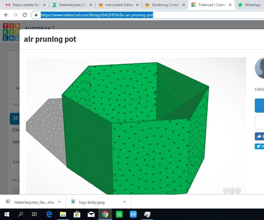 Air Pruning Pot Thinker Cad