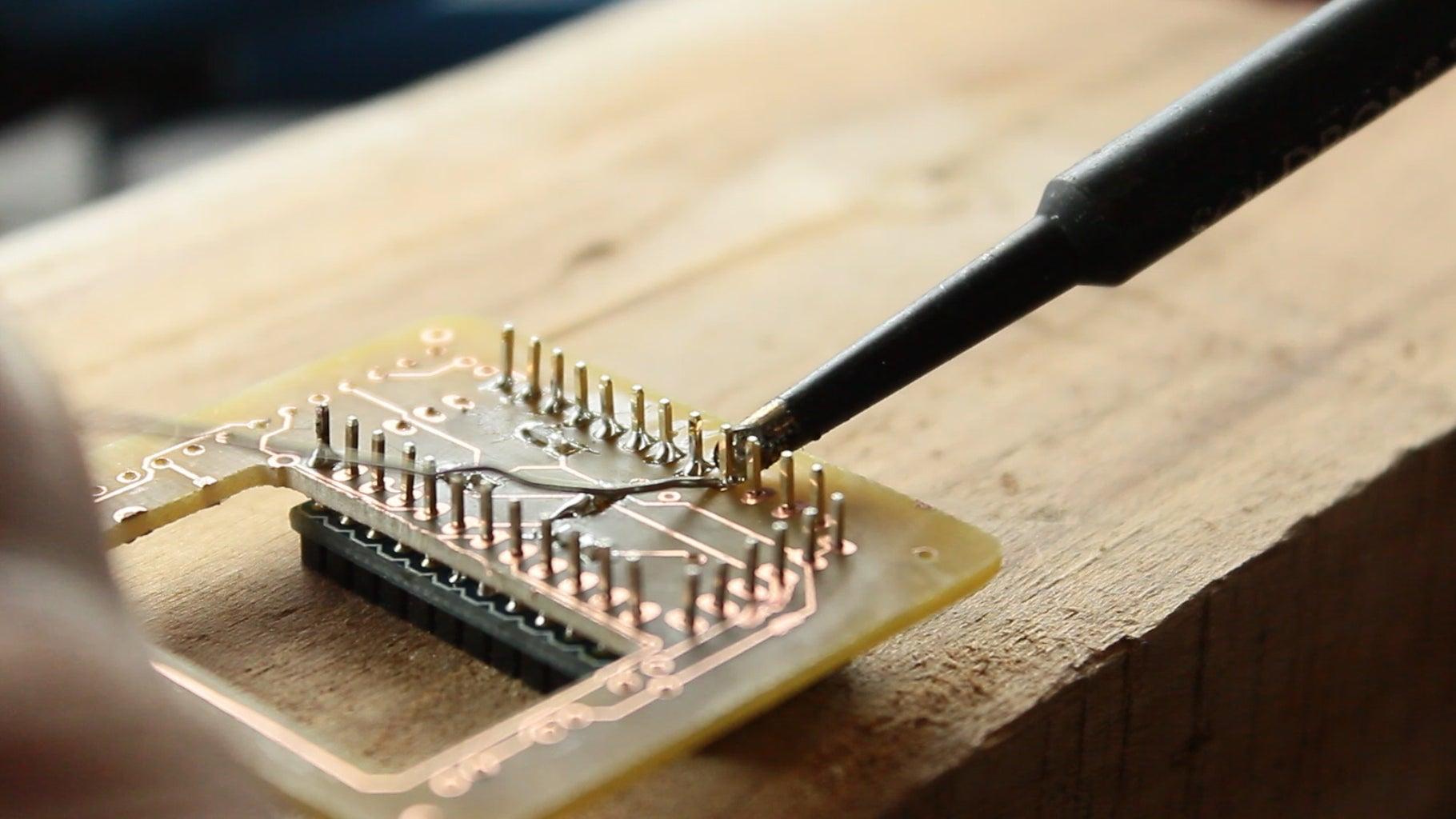 Solder the Arduino Pro Mini to the PCB