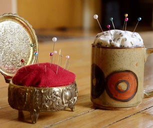 Make a Pin Cushion Out of a Vintage Jewelry Box or Coffee Cup