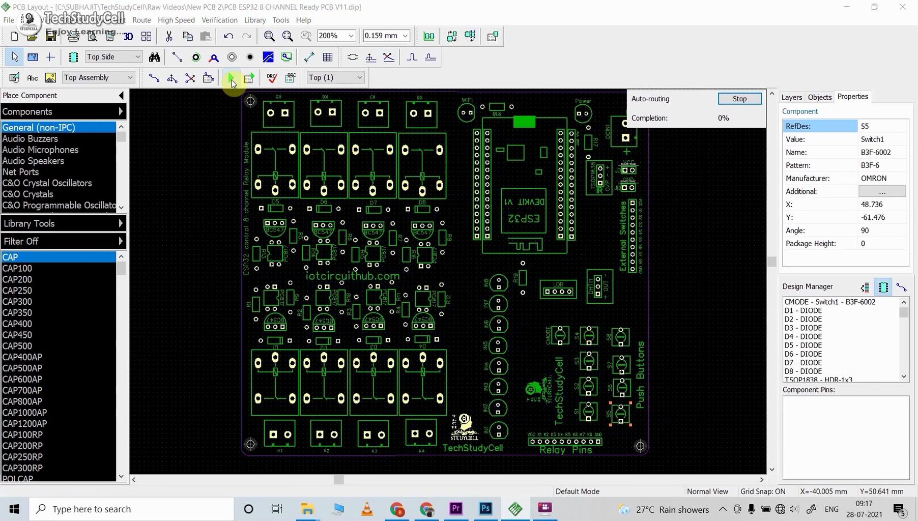 Design the PCB for ESP32 Smart Home System