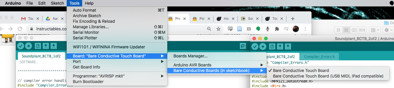 Setting Up Arduino Software to Read the Touchboards