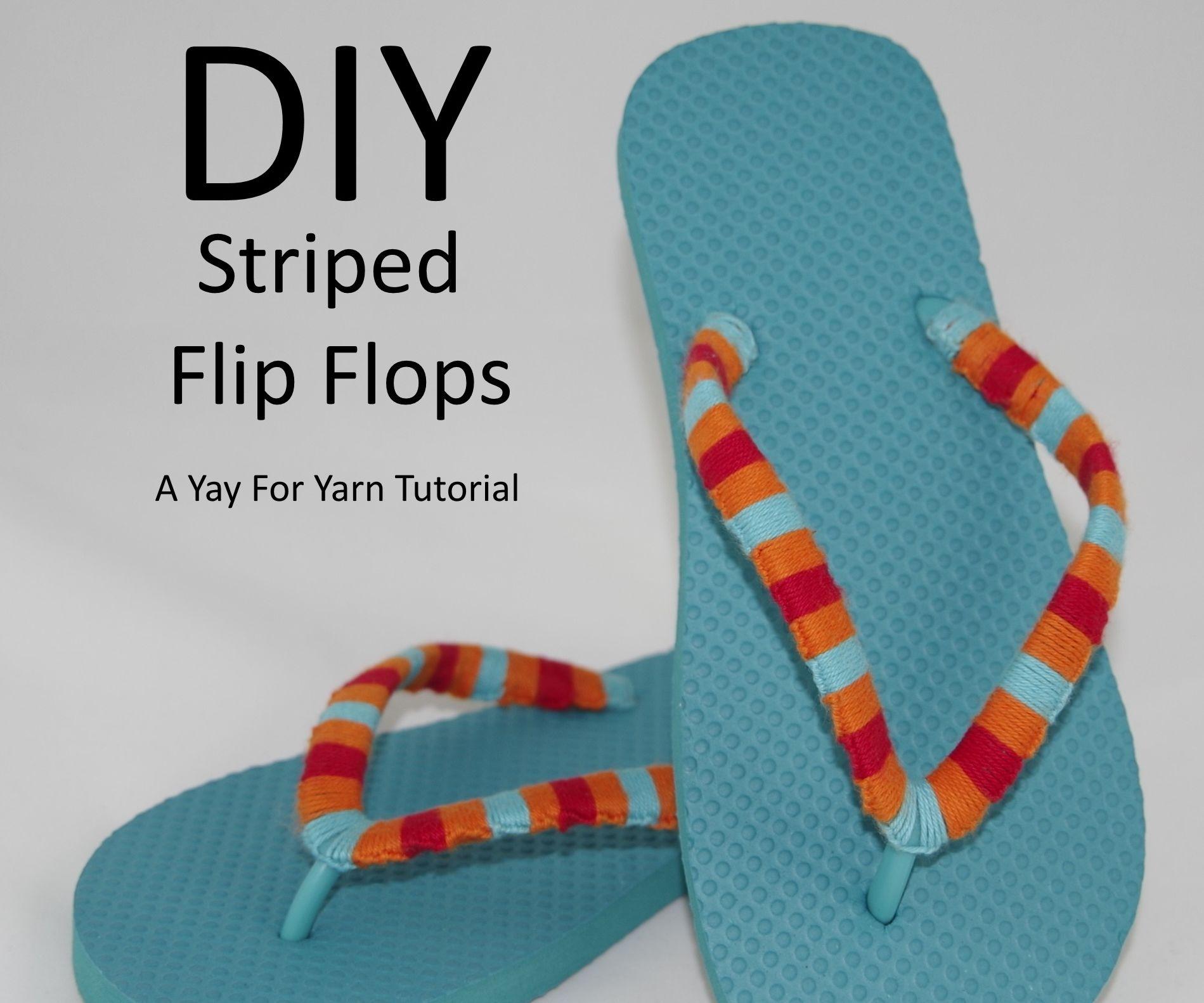 Yarn Bombed Striped Flip Flops