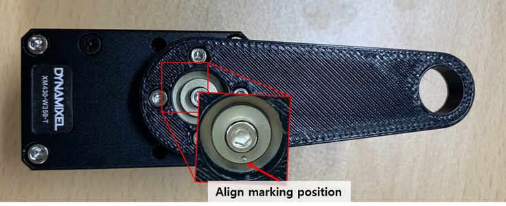 Install a Link 50 to the Dynamixel (ID 3) by 4 Bolts (WB_M2X03) While Paying Attention the Align Marking Position on the Dynamixel Horn.