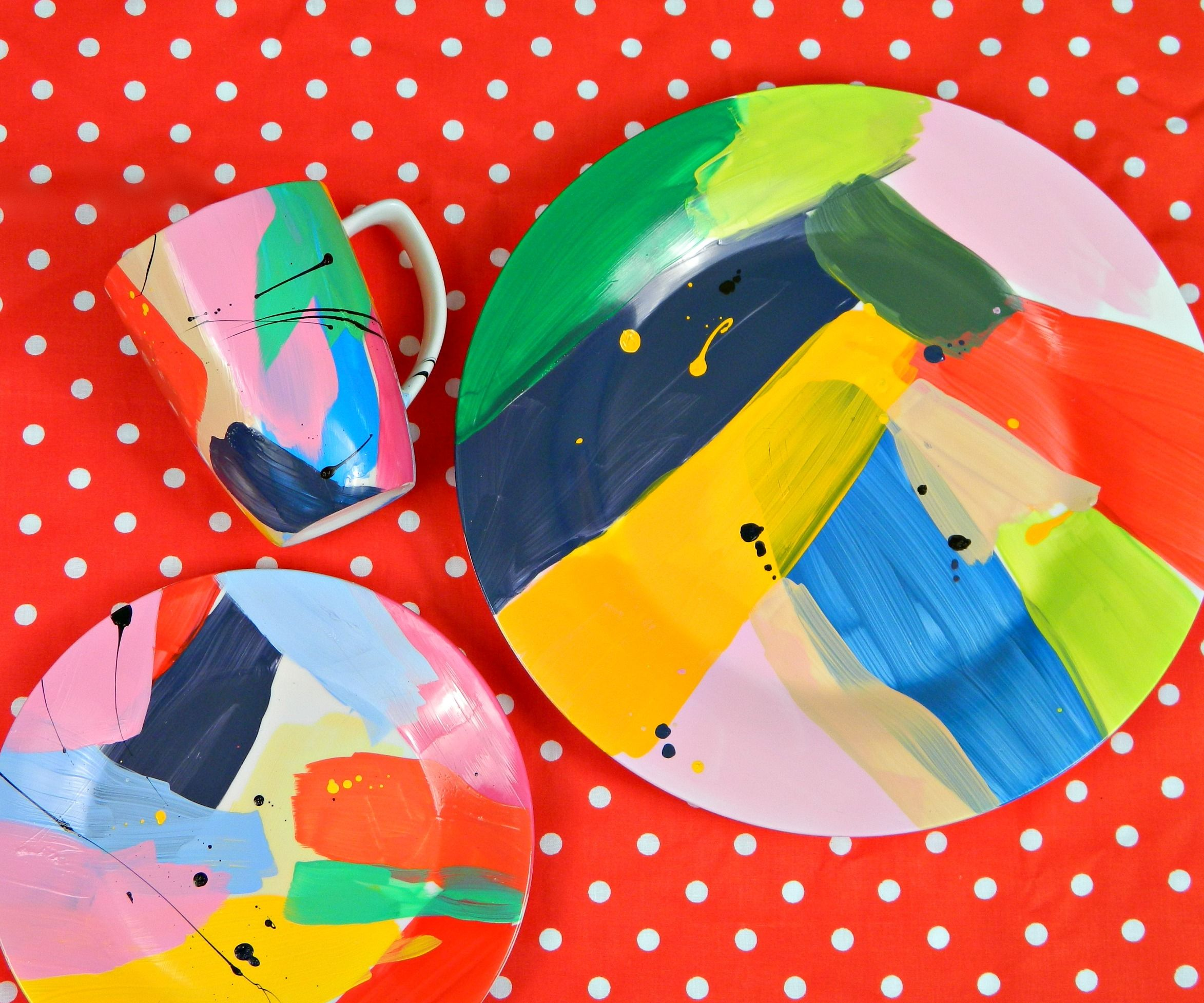 Abstract Art Painted Dishes