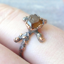Textured Copper Electroformed Twig Ring With Gemstone