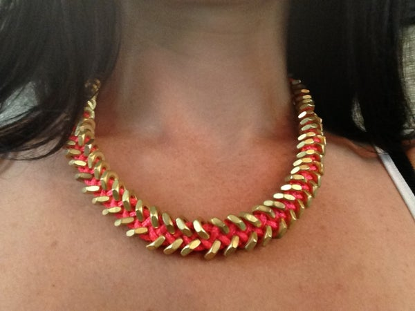 How to Make a Neon Pink and Gold Hex Nut Necklace