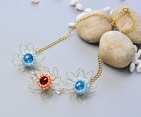 Pandahall Original DIY Project - How to Make a Bead and Wire Flower Chain Necklace