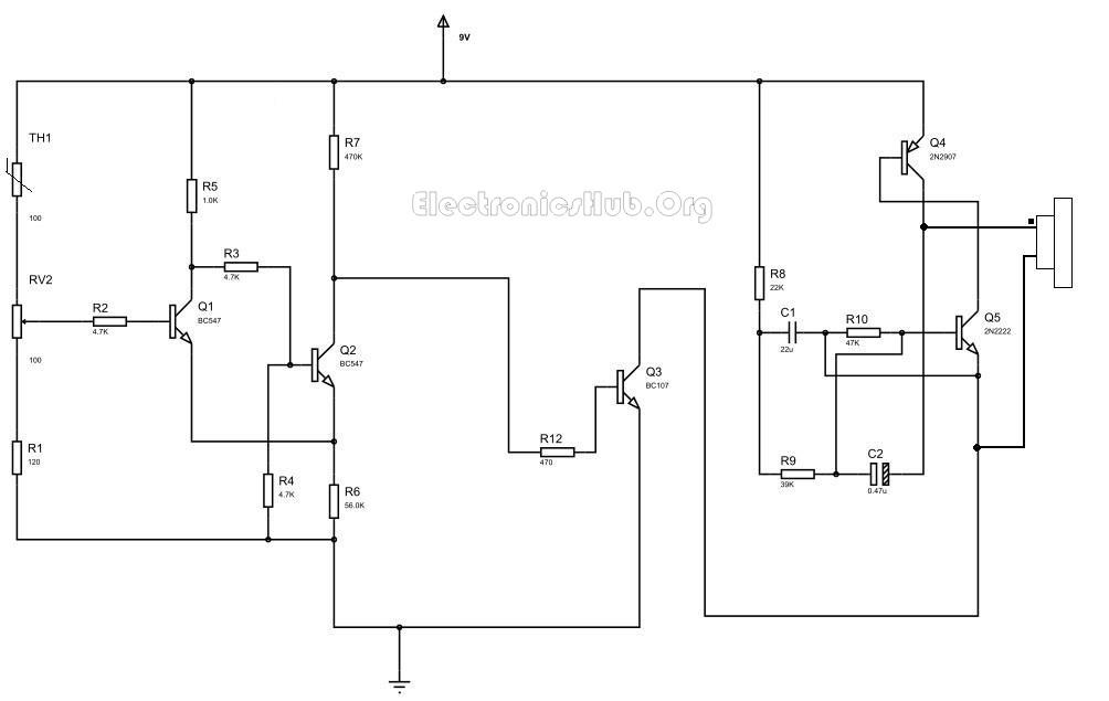 Fire Alarm Circuit using Thermistor