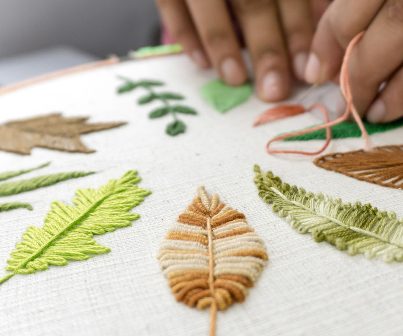 10 Hand Embroidery Leaves