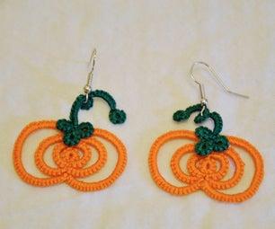 Tatted Pumpkin Earrings