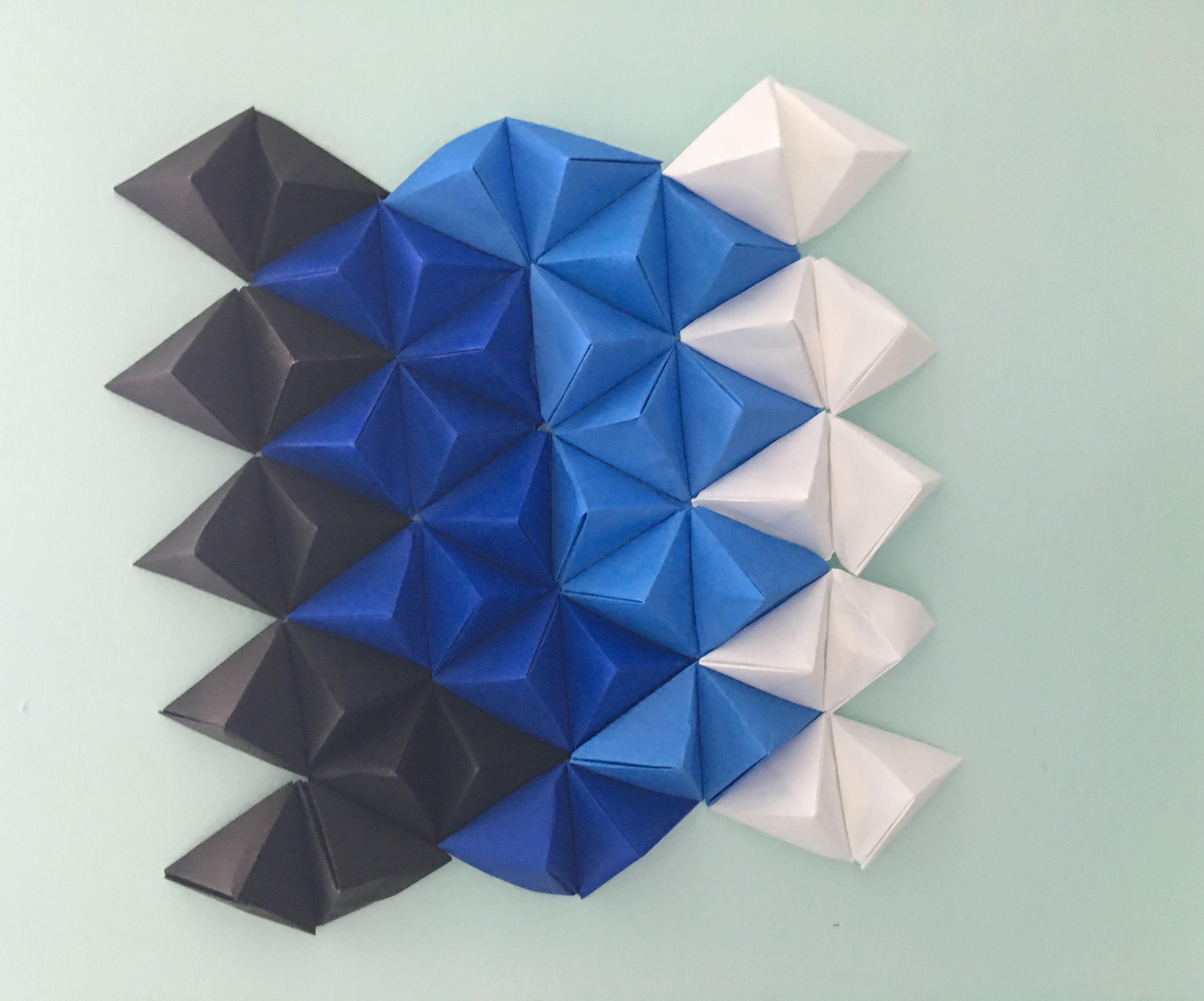 3D Origami Wall Art   Triangle Pixel Art