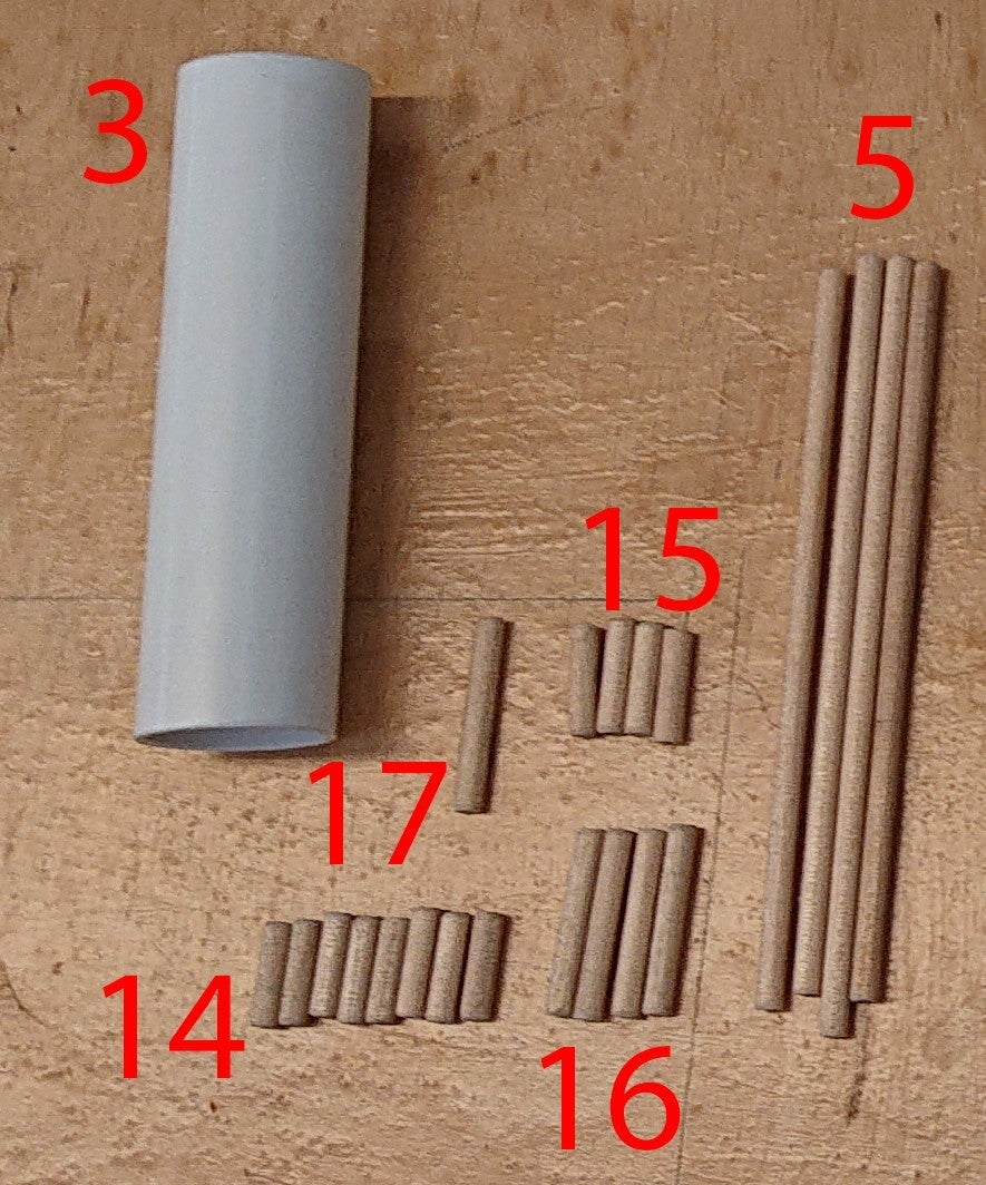 Materials: 4mm Dowel and PVC Pipe