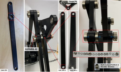 Assemble a Rotation Axis With the Link 250, New Link 200 B, the Triangle Link, the Link 200 a and Axis Parts While Paying Attention the Sorted Order and the Shaft Collars Directions.