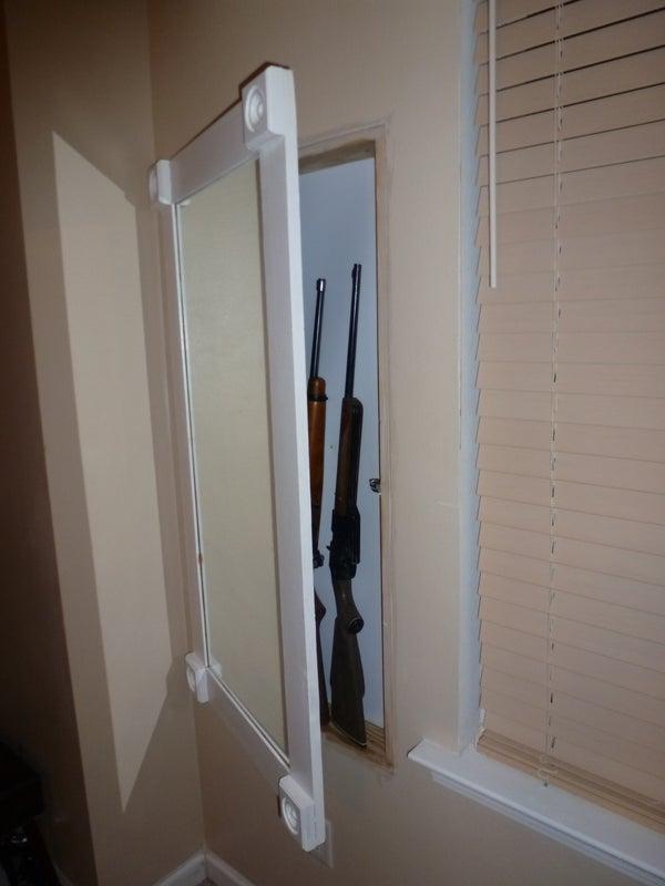 Hidden in Wall Gun Cabinet With Hidden Keypad