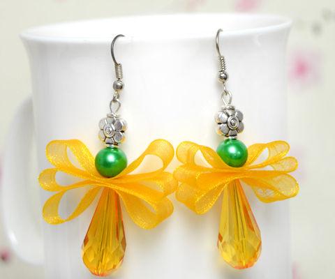 Orange Angel Earrings by Ribbon and Pearl