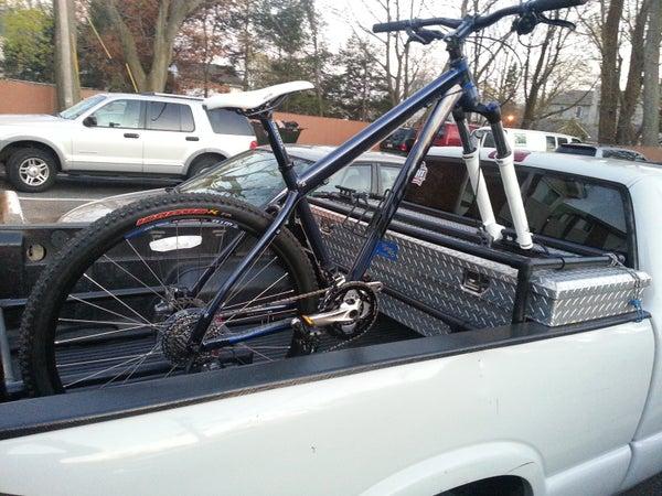Toolbox Compatible Bike Valet With Fork Mounts for Pickup Trucks
