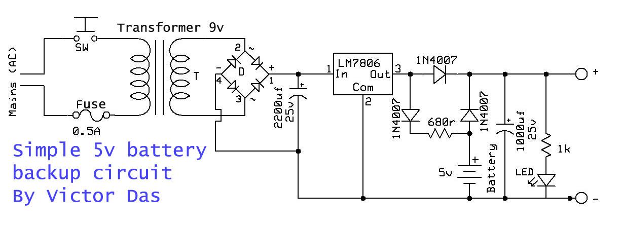 Simple 5v battery backup circuit