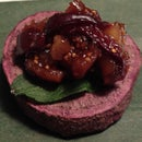 Purple Sweet Potato Rounds with Walnut Fig Jam Tapenade