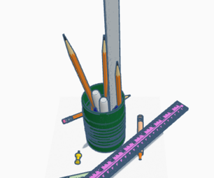 Pencil Holder With Cut-out Plastic Bottle, for Children's Tables