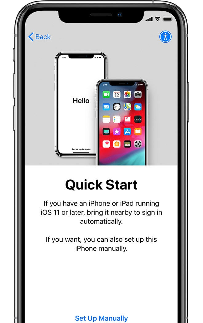 If You Have Another IPhone on IOS 11 or Later, Use Quick Start