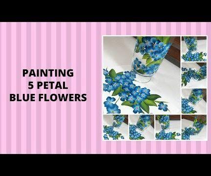 PAINTING 5 PETAL BLUE FLOWERS