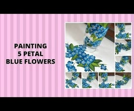 PAINTING 5 PETAL BLUE FLOWERS