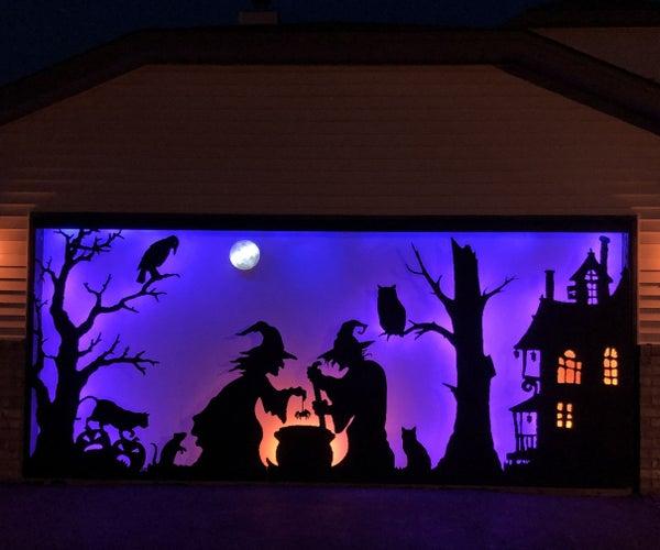 Halloween Silhouette for a Large Garage Door