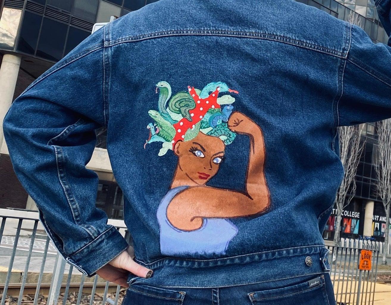 Stencil Painted Denim Jacket