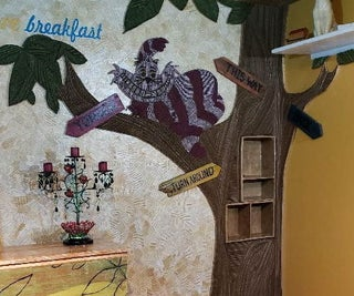 Shoe Box Shelves With Cardboard Cheshire Cat Wall Art
