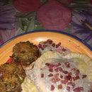 Ravioli heart with mushroom sauce