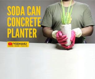 DIY SODA CAN CONCRETE PLANTER