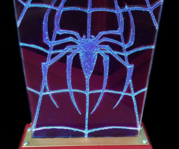 Hand-etched Spiderman Light With 3d Printed Base