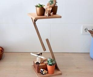 由旧纸板箱制成的悬浮边桌