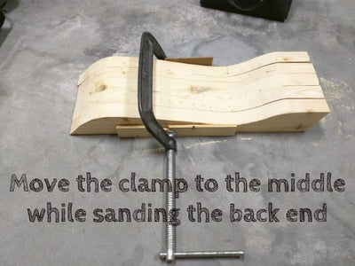 Clamp and Sand Swing Seat Support Boards.