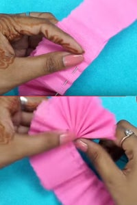 Let's the Lower Side of the Crepe Paper Strip!
