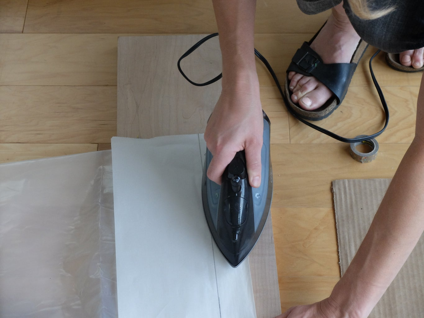 Parchment Paper Protection, & Sealing the Perimeter and Rainbow Sections With a HOT Iron
